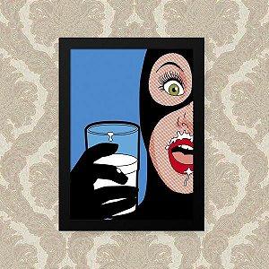 Quadro Decorativo 33x43cm Nerderia e Lojaria milk preto