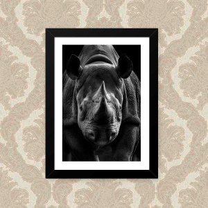 Quadro Decorativo 33x43cm Nerderia e Lojaria rhino preto