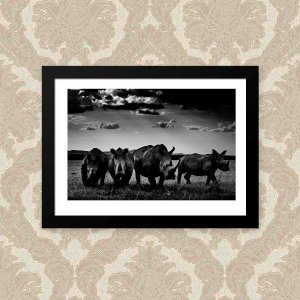 Quadro Decorativo 33x43cm Nerderia e Lojaria rhinos preto