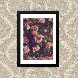 Quadro Decorativo 33x43cm Nerderia e Lojaria rosas preto
