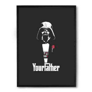 Quadro Decorativo 33x43cm Nerderia e Lojaria your father vader preto