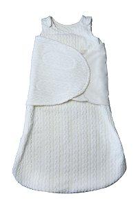 Saco de Dormir Soft Trançado Branco com Swaddle / Cueiro Removível