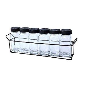 Conjunto de porta condimentos  de vidro - Wincy