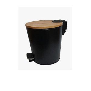 Kit Lixeira 5L Pedal C/ Escova Sanitária Preto  - Wincy