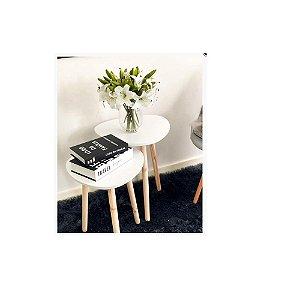 Mesa decorativa de madeira Branco – FWB