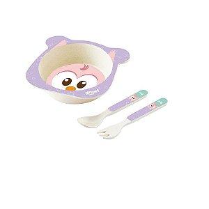 Conjunto Alimentação Bowl Baby 3 Peças Coruja -Zoop Toys