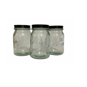 Conjunto 3 Potes de Vidro C/ Tampa Preto - Wincy