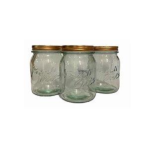 Conjunto 3 Potes de Vidro C/ Tampa Prata - Wincy