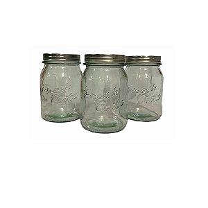 Conjunto 3 Potes de Vidro C/ Tampa Dourado - Wincy
