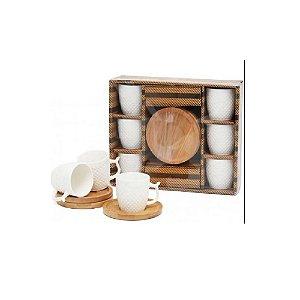 Conj. Xícaras em Porcelana C/ Pires em Bambu 12 Peças -Wincy