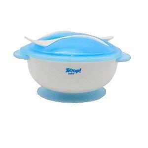 Kit Bowl com Tampa e Talher Azul - Zoop Baby