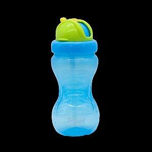 Garrafinha com Canudinho Azul 360ml - Zoop Baby