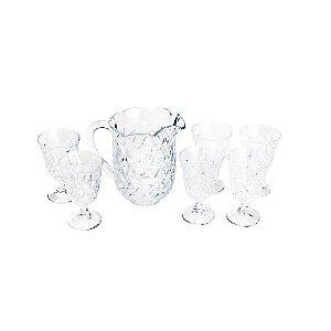 Cj 7pc Jarra c/6 taças de Cristal p/ Água Lile Lyor