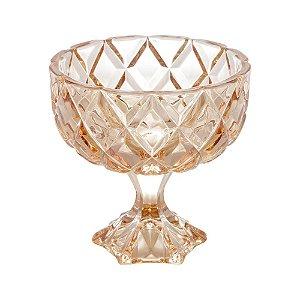 Centro de Mesa c/pé de Cristal Deli Diamond Âmbar Lyor
