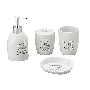 Cj 4pc p/Banheiro de Cerâmica Sweet Home Branco Lyor