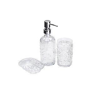 Cj 3pc p/Banheiro de Vidro Flor de Lis Transparente Lyor