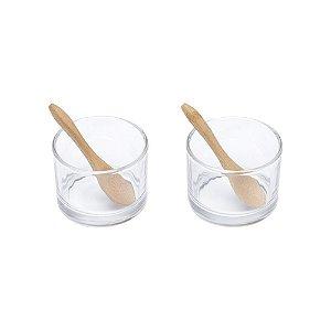 Cj 2 Molheiras de Vidro c/2 Colheres de Bambu Lyor