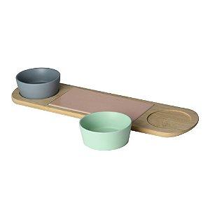 Cj Petisqueira c/ Bandeja de Bambu, 2 Potes Cerâmica Lyor
