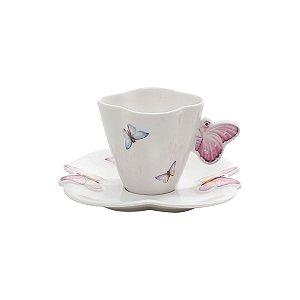 Cj 6 Xic Porcelana Cafe C/Pires Borboletas 19 cm - Rojemac