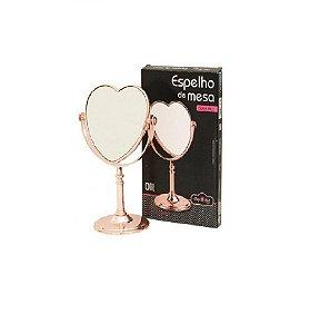 Espelho De Mesa Coração Dupla Face Rose Gold Maquiagem-Wincy