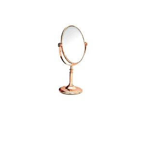 Espelho De Mesa Redondo Dupla Face Rose Maquiagem - Wincy