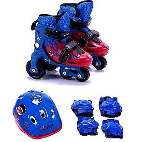 Kit Patins Ajustável (27-30) Heroizinhos Unik Toys KP1500-M Azul