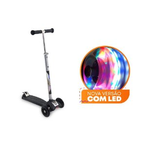 Patinete Scooter Zoop Toys  com Led - Preto