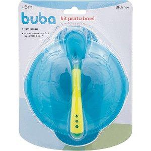 Kit Prato Bowl com tampa e colher - Azul - buba