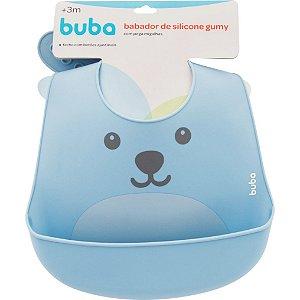 Babador de silicone com pega migalhas Gumy - azul buba