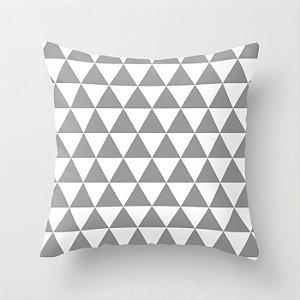 Capa de almofada Triângulos cinza e branco