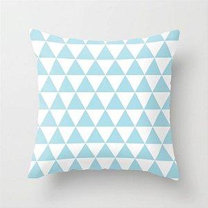 Capa de almofada Triângulos azul bebê e branco