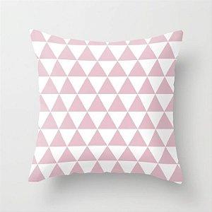 Capa de almofada Triângulos rosa bebê e branco