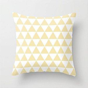 Capa de almofada Triângulos amarelo bebê e branco