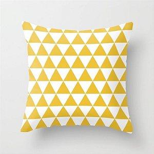 Capa de almofada Triângulos amarelo e branco