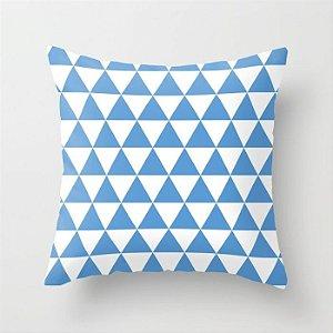 Capa de almofada Triângulos azul e branco