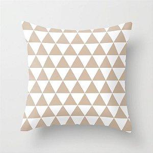 Capa de almofada Triângulos bege e branco