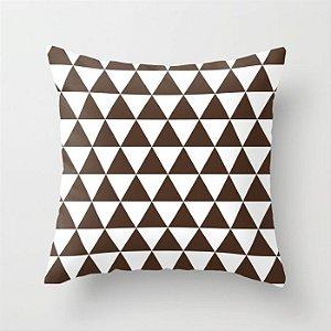 Capa de almofada Triângulos Café e Branco