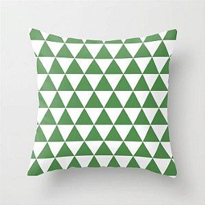 Capa de almofada Triângulos Verde e branco