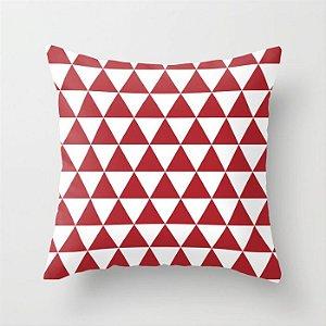 Capa de almofada Triângulos vermelho e branco