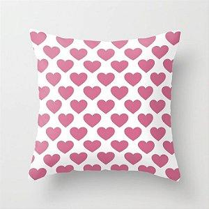Capa de almofada Corações 2 Rosa Chiclete