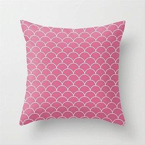 Capa de almofada Escamas Rosa Chiclete