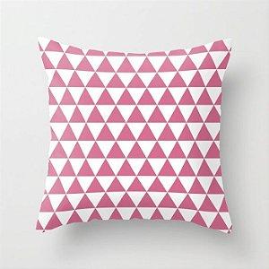 Capa de almofada Triângulos Rosa Chiclete e Branco