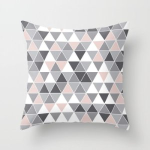 Capa de almofada Triângulos Cinza e Quartzo P