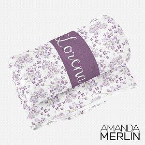 Manta solteiro Flores Violeta Personalizada