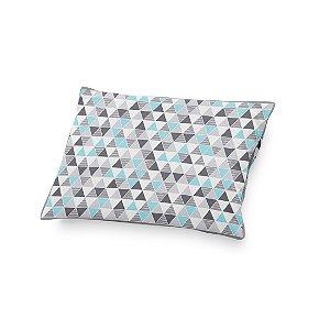 Almofada de cabeceira Triângulos cinza e azul