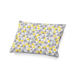 Almofada de cabeceira Triângulos Cinza e amarelo