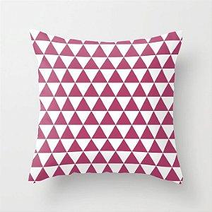 Capa de almofada Triângulo Branco e Rosa Escuro