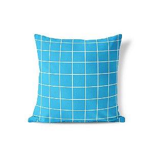 Capa de almofada Quadrados Azul Céu