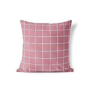 Capa de almofada Quadrados Rosa Antigo