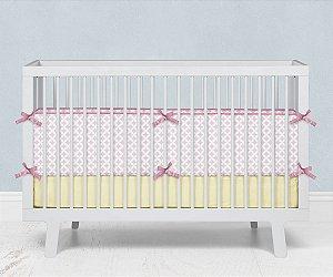 Lateral de berço em espuma Circles 2 Rosa bebê